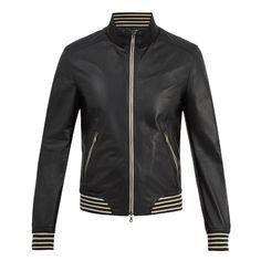 Dolce & Gabbana Zip-through striped-trim leather jacket (7.690 BRL) ❤ liked on Polyvore featuring men's fashion, men's clothing, men's outerwear, men's jackets, navy, mens zipper jacket, mens navy jacket, mens navy blue leather jacket, mens striped jacket and mens zip jacket