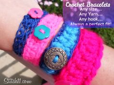Crochet Bracelet for Everyone! Any yarn, any hook, perfect fit!