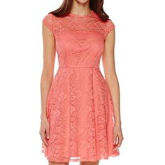 f6746d9d971 Petite Short Sleeve Lace Fit And Flare Dress