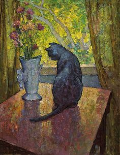 Mischa Askenazy  Cat and vase.    Mischa Askenazy  (1888-1961) Mischa Askenazy was born near Odessa, Russia    His works, which show the influence of Cezanne, include portraits, figure studies, still lifes, and landscapes in oil, pastel, and watercolor.