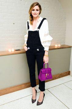 olivia-palermo-black-overalls-mesh-pumps-purple-mini-bag-ruffles-fall-via-harpersbazaar