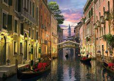 Venice at Dusk - Bilder auf Leinwand - Photowall