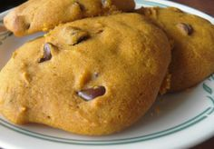 I may try these pumpkin cookies with regular flour and something instead of chocolate chips...