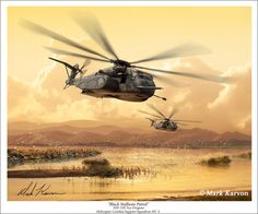 The MH-53E Sea Dragon is the US Navy version of the CH-53 Super Stallion. It is the largest helicopter manufactured in the Western World. In 2006 the US Navy's Helicopter Support Squadron HC-4 (The Black Stallions) was deployed in support of Operation Iraqi Freedom. This dramatic print is a superb rendition of two of the Black Stallion's mighty Sea Dragons on patrol.