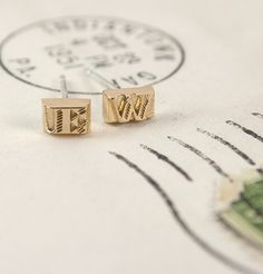 Movable Type Earrings (Gold Vermeil)