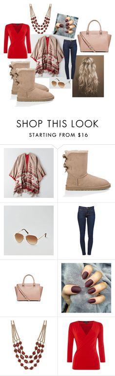 """Southwestern Blanket Shawl"" by shaaaaaaaaaaaaaaaa on Polyvore featuring American Eagle Outfitters, UGG Australia, Frame Denim, Lucky Brand, Ellen Tracy, michaelkors and uggs"