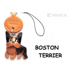 Boston Terrier Leather Cellularphone Charm