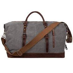 S-ZONE Oversized Leather Canvas Duffel Shoulder Weekender Mens Overnight Bag Mens Travel, Travel Tote, Travel Luggage, Luggage Sets, Palm Springs, Mens Overnight Bag, Graduation Gifts For Guys, College Graduation, Backpacks