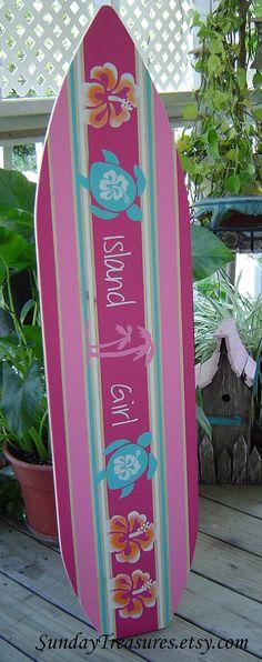 hawaiian wall art and decor | 4FT Pink Surfboard Hawaiian wall art decor Room Decor. Headboard. 150 ...