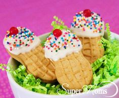 "Ice Cream Cookie Cones - Heading to a summer picnic and need to bring a convenient yet creative dessert? These ""ice cream"" cookie cones will be a festive addition to your gathering without having you lose your cool while you prepare them. Tags: summer recipes for kids 