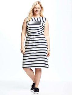 Striped Jersey Easy-Waist Plus-Size Dress #dresses