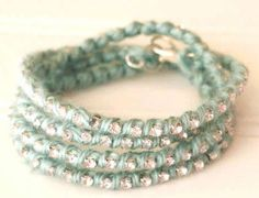 Sparkled Yarn Wrapped Bracelet | Who doesn't love some sparkly? Nobody! That's why this is a great wrap bracelet to make yourself or make as a DIY gift!