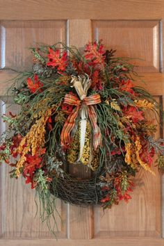 going to try to make it ...Autumn Front Door Wreath, Beaded Indian Corn, Beautiful Fall Leaves -- FREE SHIPPING. $137.00, via Etsy.
