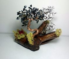 Handcrafted gemstone tree. Yin-yang gift with natural stones.