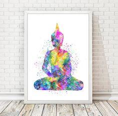 Buddha Drucken Aquarell Yoga Poster Abstract Buddha von DROPINDROP