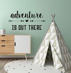 Adventure is Out There! Your adventurous décor will be created using only the highest quality indoor vinyl. Your boho inspired quote will be removable, but not reusable, and feature a matte finish. With thirty-five colors to choose from, you can personalize your vinyl quote decal to any color scheme.