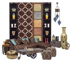 """""""taste of the middle east"""" by mystyle-bysammy ❤ liked on Polyvore featuring interior, interiors, interior design, home, home decor, interior decorating, Jill Rosenwald, OKA, Old Hickory Tannery and Pier 1 Imports"""