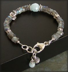Labradorite Bracelet with Aquamarine Sterling by jQjewelrydesigns
