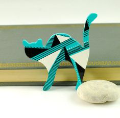Turquoise Black and White Wooden Cat Brooch  hand by PumpkinDesign,