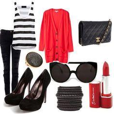 Fantástica idea de outfit rojo, ideal para una salida por la noche. Busca más ideas en https://www.facebook.com/1001ConsejosOficial/