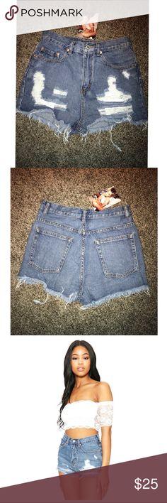 Denim shorts Destroyed denim shorts Naked Wardrobe Shorts