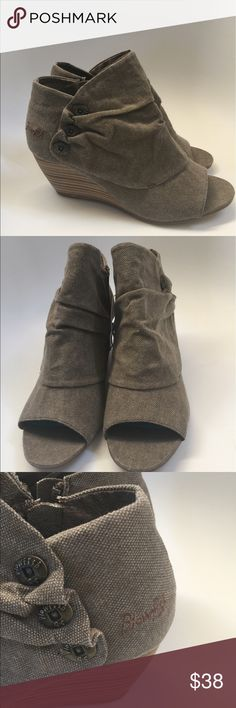Boots BLOWFISH Awesome NWT Blowfish boot/booties with Wedge wood heel. Inside zipper, open toe sandal like with faux buttons on side. Great beige/tan tweeding material with a little roushing in the side and front. This is the perfect boot to dress up or casual with jeans. Sexy features and Uber modern look. Comes in 7 1/2, 8, and 8 1/2 Blowfish Shoes Ankle Boots & Booties