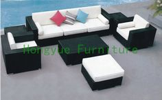 Factory wholesale rattan sofa set furniture with cushions