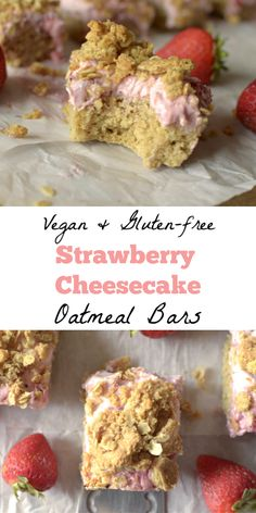 In need of a nourishing sweet treat? These Strawberry Cheesecake Oatmeal Bars fit the bill! This healthy oatmeal recipe tastes like the summer dessert! Gluten-free, dairy-free w/ a vegan-option. Healthy Dessert Recipes, Gluten Free Desserts, Vegan Gluten Free, Vegan Recipes, Delicious Recipes, Yummy Food, Dairy Free, Pie Recipes, Cooking Recipes