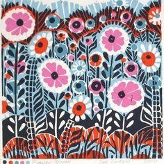 flower power lino print
