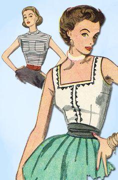 1950s Vintage Simplicity Sewing Pattern 3891 Uncut Misses Sleeeveless Blouse 32B #Simplicity #BlousePattern