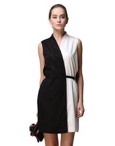 #AdoreWe #VIPme Shift Dresses - SAINTY Contrast Color Slim Fit Sleeveless Chiffon Mini Dress - AdoreWe.com