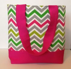 Bright Pink Green and Gray Chevron Tote by WrapItUpByG on Etsy, $32.00