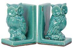 Wise Owl Bookends, Ocean