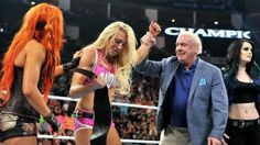 New Divas Champ Charlotte with her Dad Ric Flair, Becky, & Paige