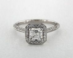 .7ct Vintage Inspired Asscher Engagement Ring Platinum