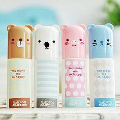 Cute lipbalms in cute packaging Kawaii Makeup, Cute Makeup, Kawaii Shop, Kawaii Cute, Kawaii Stuff, All Things Cute, Girly Things, Cute Stationary, Kawaii Accessories