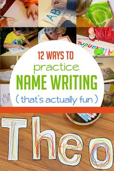 12 fun ways to practice name writing for preschooler -- that will actually have them interested in trying to write it! ♥ 12 fun ways to practice name writing for preschooler -- that will Learning To Write, Learning Letters, Early Learning, Fun Learning, Blended Learning, Toddler Learning, Teaching Kids, Preschool Names, Preschool Literacy
