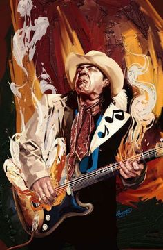 Styles of Art influence another style just like the inspiration of Stevie Ray Vaughn allowed for expression to be born through this artist Stevie Ray Vaughan Guitar, Steve Ray Vaughan, Music Painting, Music Artwork, Caricatures, Music Images, Guitar Art, Rock Posters, Blues Music
