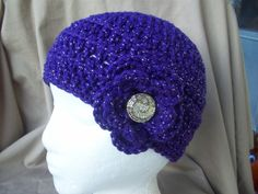 Purple with Silver Sparkle Crochet Hat with by AngieHallHaviland, $18.00