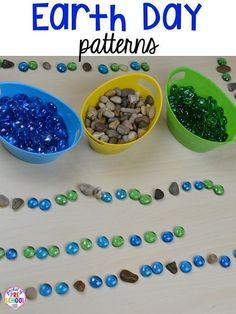 Earth Day Centers and Activities (FREE Earth Day Vocab Posters) – Pocket of Preschool Earth Day patterns using gems and rocks. Plus FREE Earth Day vocabulary posters! Perfect for preschool, pre-k, or kindergarten. Earth Day Preschool Activities, April Preschool, Preschool Science, Spring Activities, Preschool Projects, Preschool Themes, Motor Activities, Earth Day Projects, Earth Day Crafts