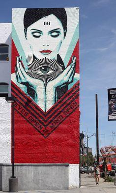 La Nouvelle fresque d'Obey sur Sunset Boulevard - Galerie Itinerrance