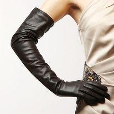 Women 58Cm Long Plain Opera Top Sheep Leather Opera Evening Gloves Black