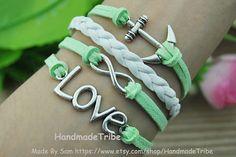 Bracelet Anchor & Infinity LOVE Bracelet Mint by HandmadeTribe, $4.00 Fashion cuff bracelet, Christmas gifts