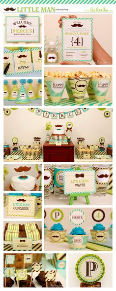 Little Man Birthday Party Package Collection Set Mega Personalized Printable Design by leelaaloo.com || #littleman #mustache #man #green #birthday #party #theme #leelaaloo