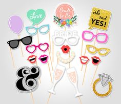 Bridal Shower Party Printable Photo Booth Props - Hen Party Photo Booth Props - Wedding Party Photo Booth Props - Bachelorette Party Props
