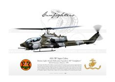 """AH-1W """"Cobra"""" 31 HMLA-369 """"GUNFIGHTERS"""" USMC JP-774 Attack Helicopter, Military Helicopter, Military Aircraft, Us Marine Corps, Us Marines, Aircraft Design, Aviation Art, Model Airplanes, War Machine"""
