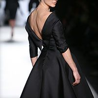 Swing midi 3/4 sleeve low back dress in black by Vassilis Emmanuel Zoulias - Pret a Porter #mididress #vintage