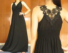 Black Evening Formal Dress Long Maxi Dress Elegant by myuniverse, $35.00