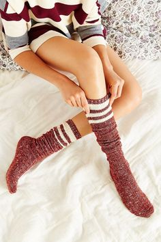 Marled Varsity Stripe Over-The-Knee Sock