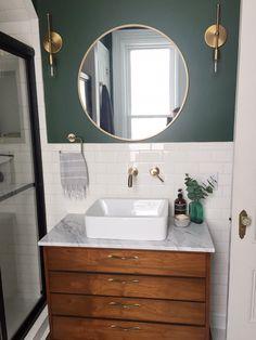Bathroom with vintage mid-century dresser turned vanity Upstairs Bathrooms, Downstairs Bathroom, Small Bathroom, Green Bathrooms, Paris Bathroom, Ocean Bathroom, Green Bathroom Decor, Lavender Bathroom, Colorful Bathroom